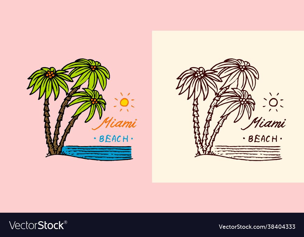 Tropical green palm emblem surfing sign summer