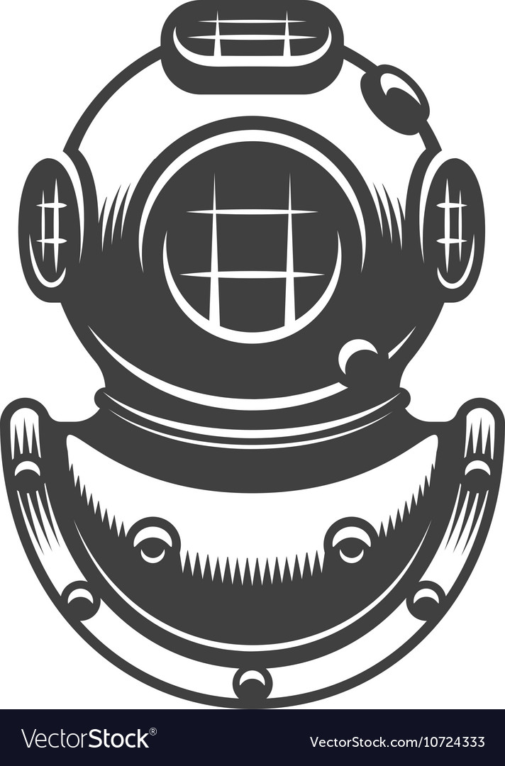 Vintage diving helmet vector image