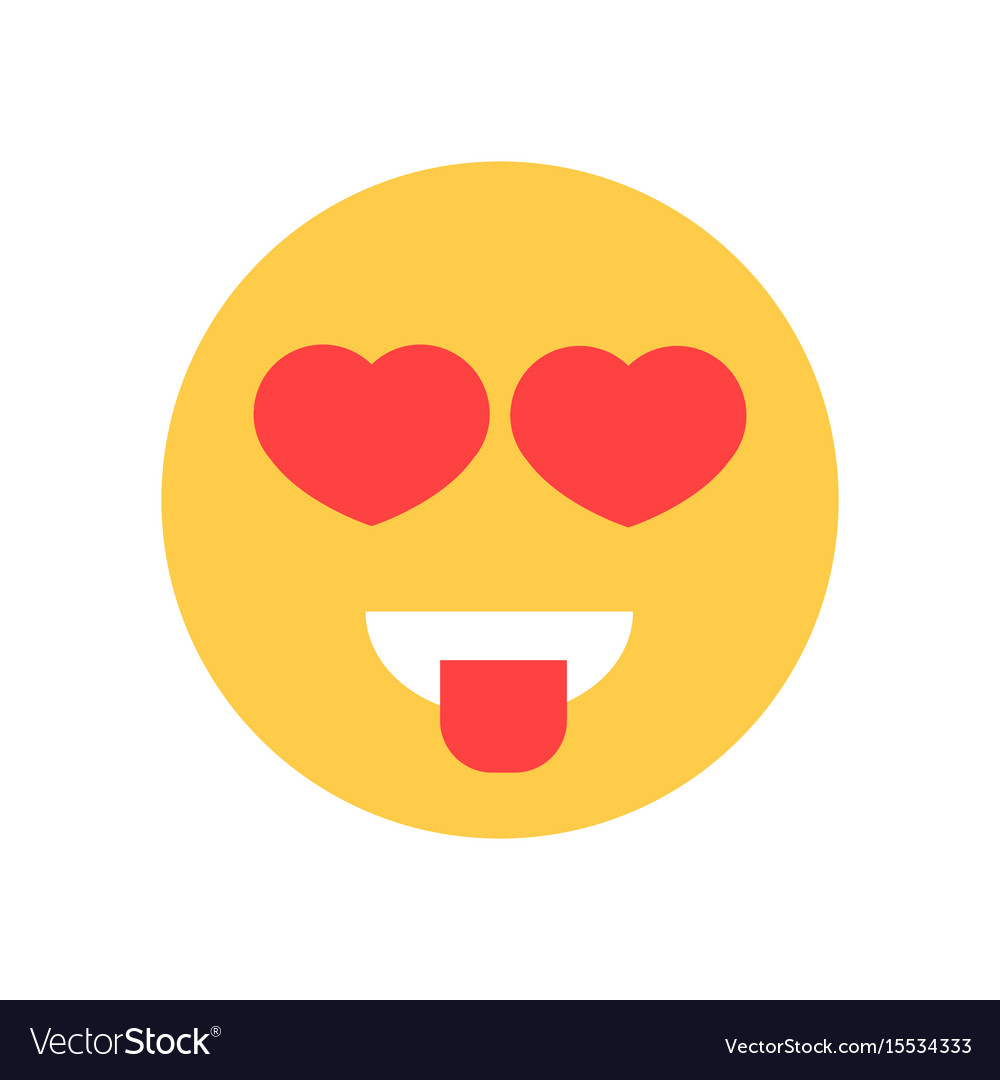 Yellow smiling cartoon face with heart shape eyes vector image