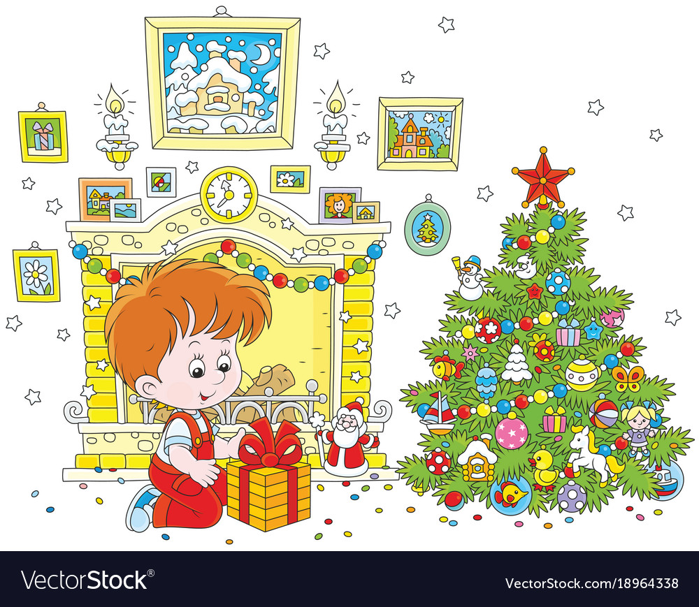 Boy with his christmas gift Royalty Free Vector Image