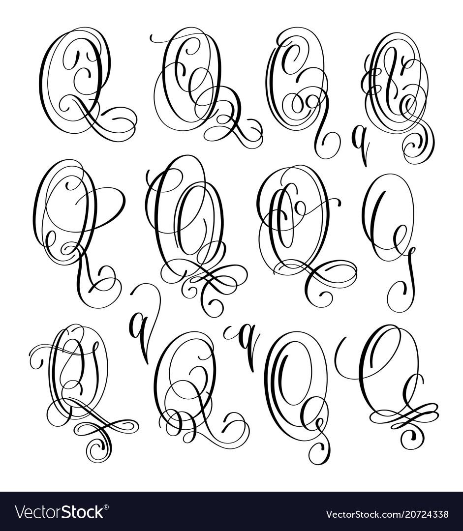 Calligraphy lettering script font q set hand