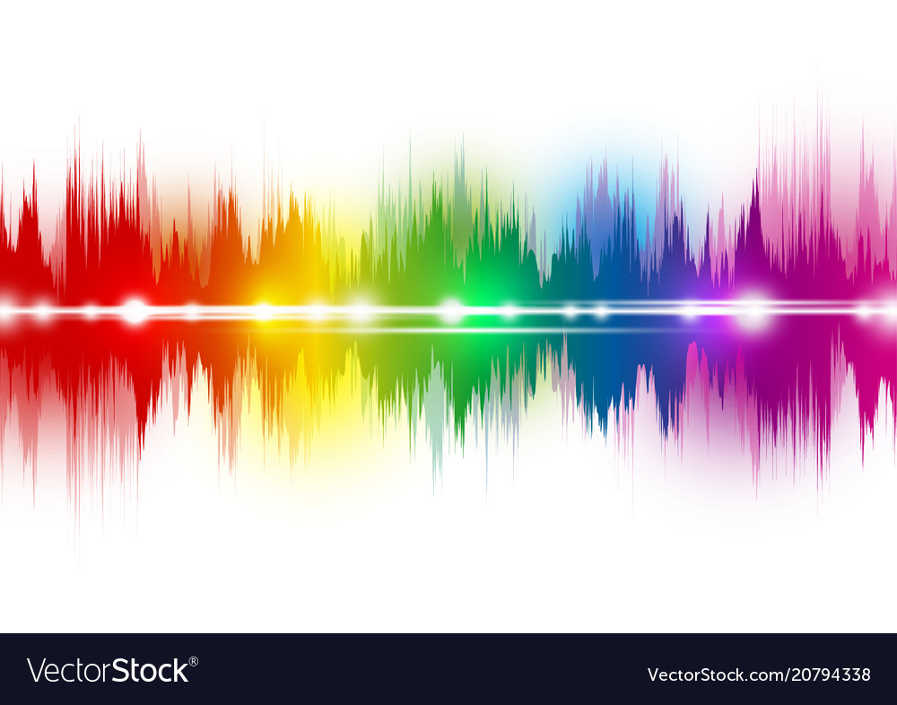 Colorful music sound waves on white background