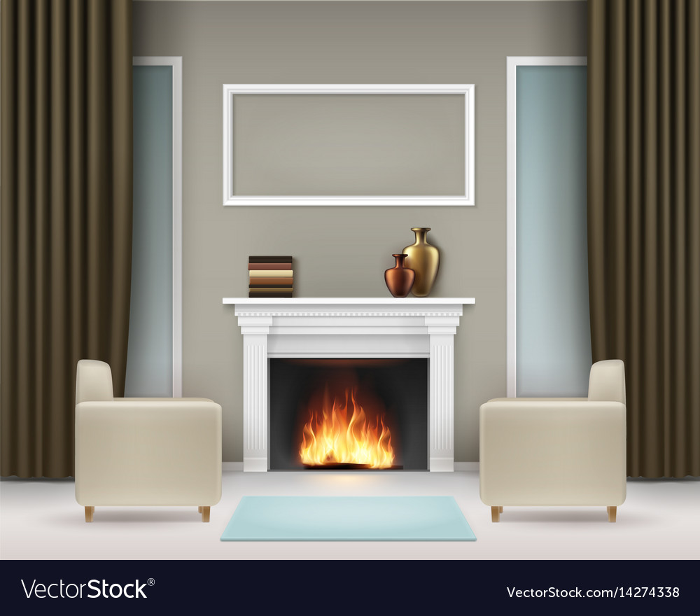 Interior with fireplace vector image