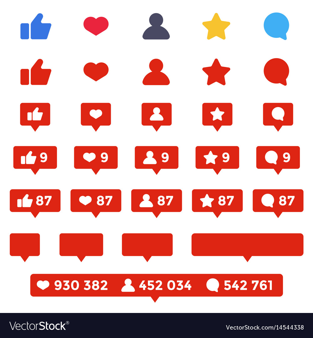 Like follower comment icon set social counters
