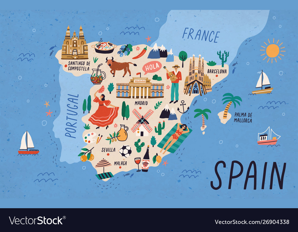 Map spain with touristic landmarks or sights