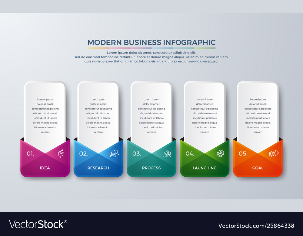 Modern infographic with green purple orange and