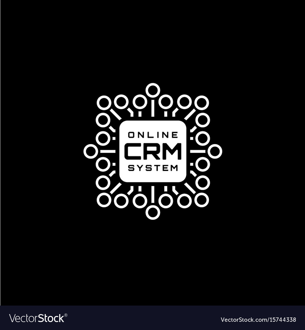 Online crm system icon flat design