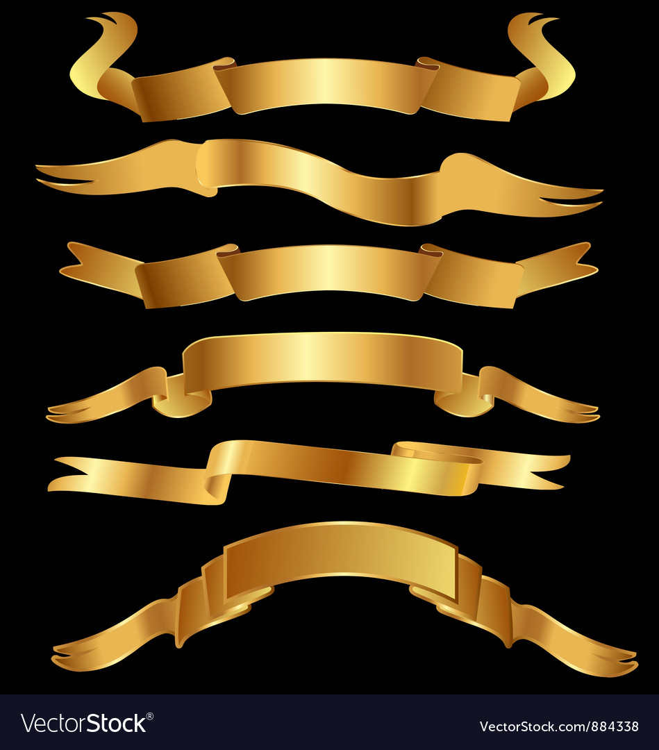 Set gold ribbons vector image