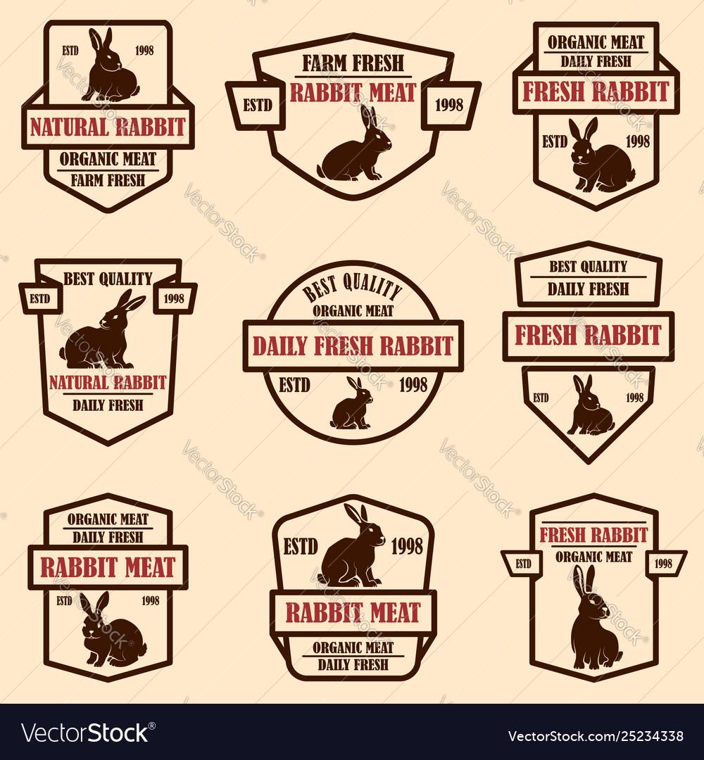 Set rabbit meat labels design elements