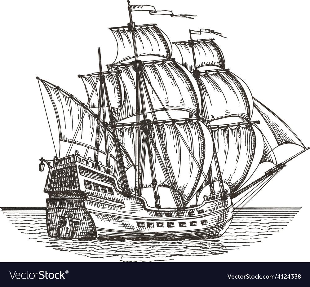Ship Logo Design Template Sailboat Or Vector Image
