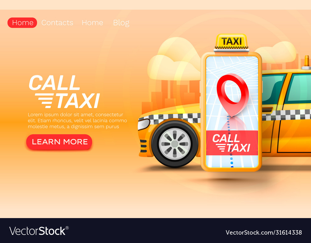 Smartphone call taxi banner concept place