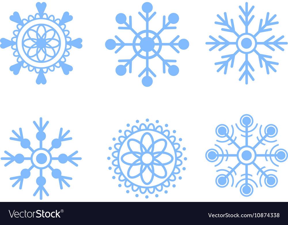 Snowflakes blue icon set vector image
