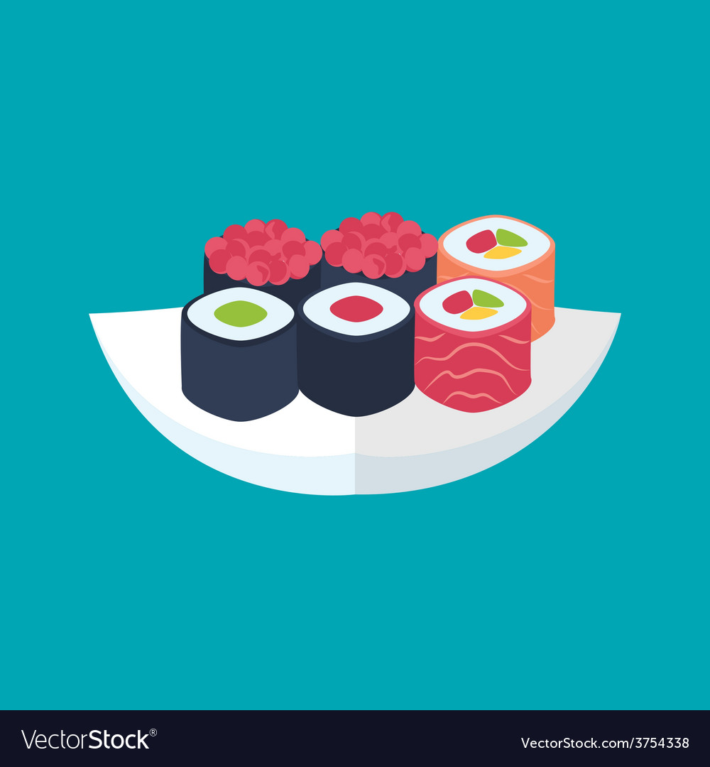 Sushi rolls with caviar tuna and salmon plate