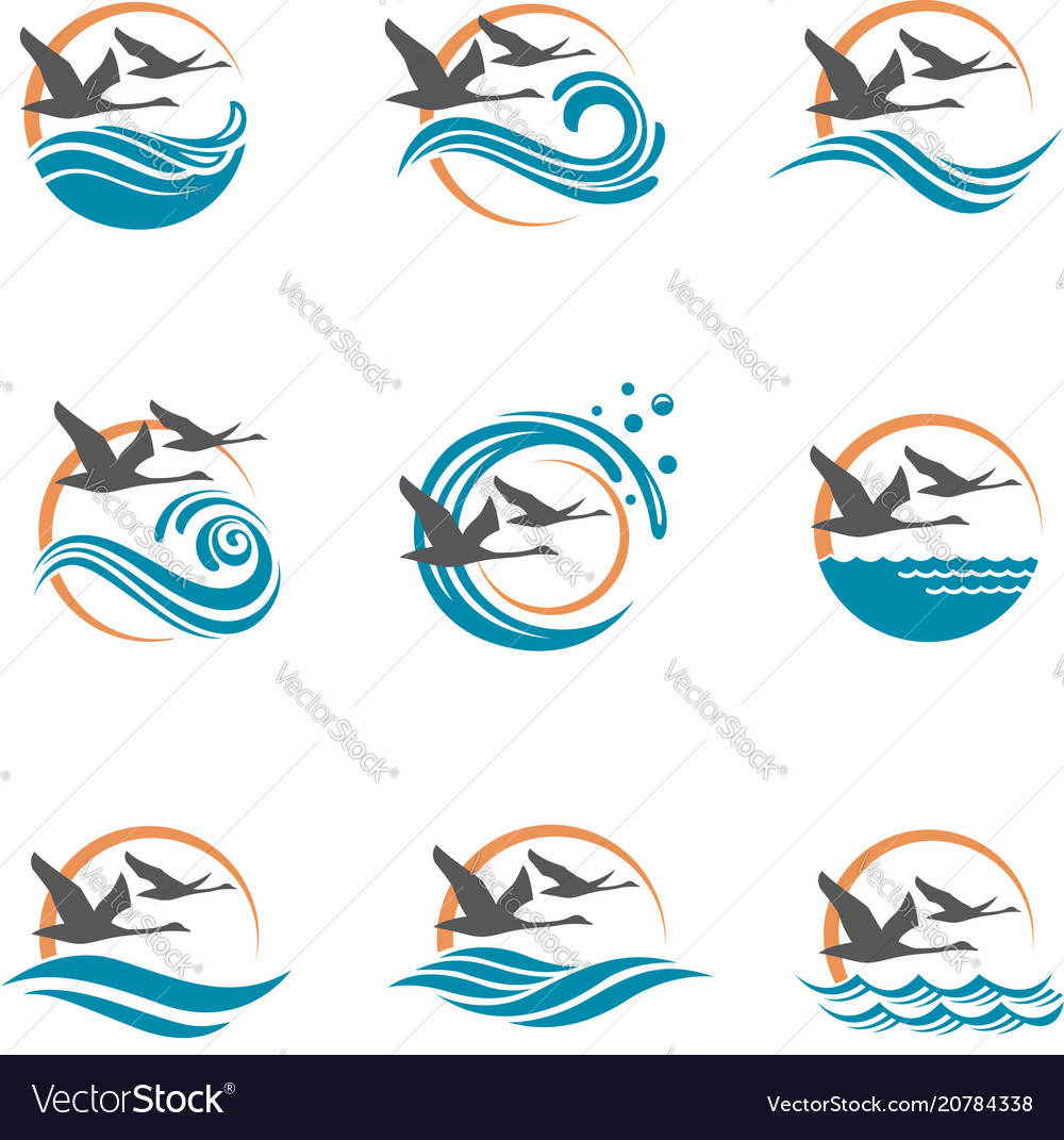 Swans and waves icons