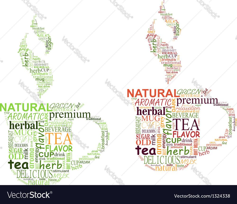 Tea tags cloud with cup shape