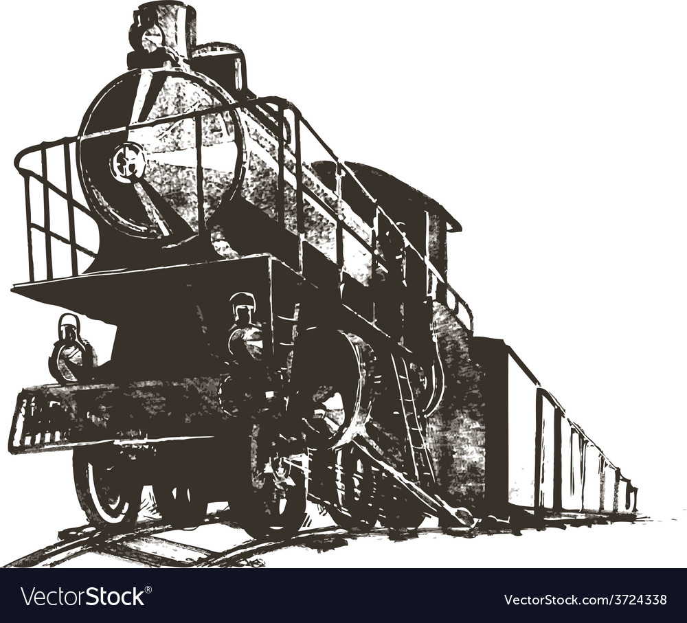 Train Black White Paint Print Royalty Free Vector Image