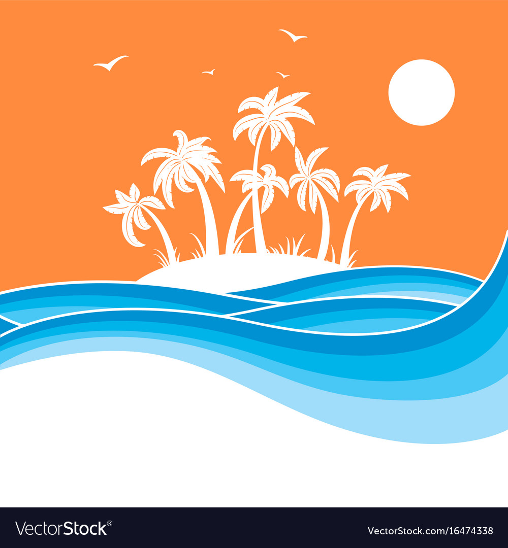Tropical island with palmssea waves blue