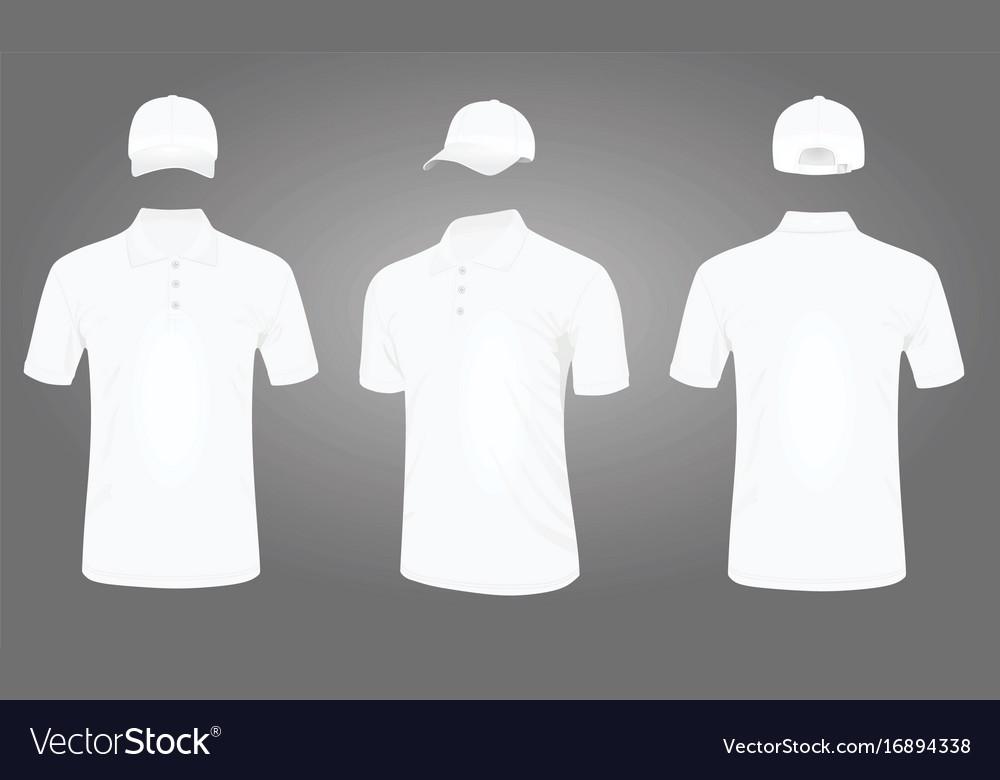 White baseball cap and polo t shirt