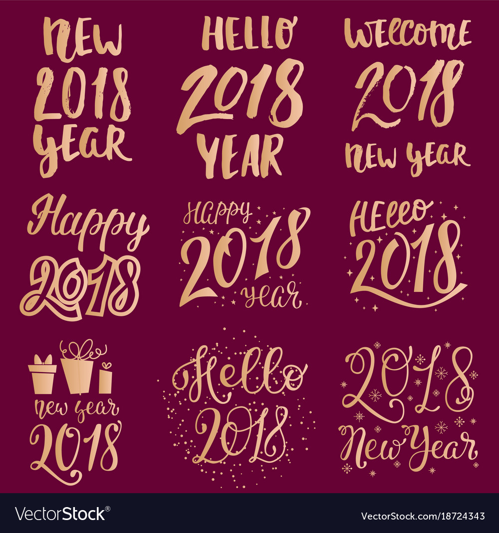2018 happy new year gold text logo for holiday