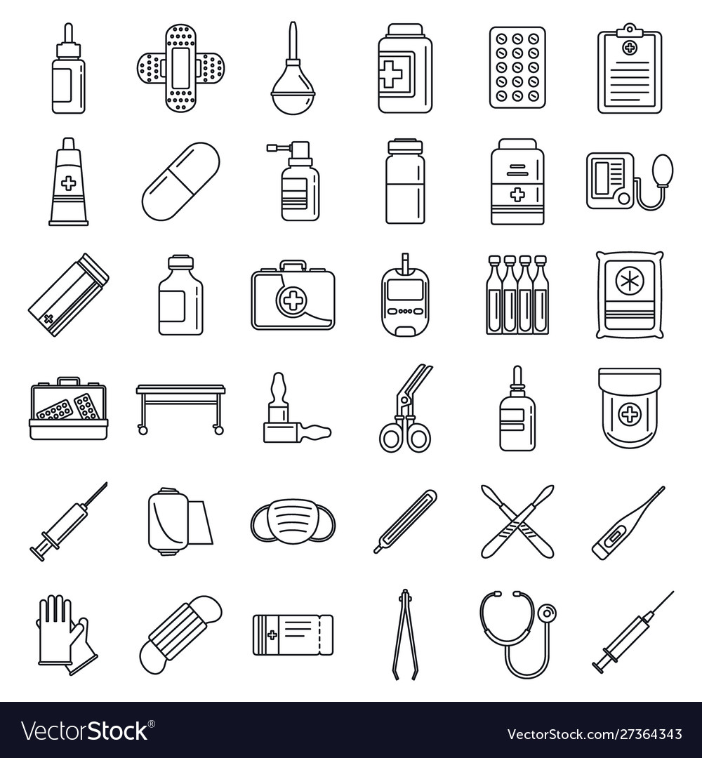 Emergency medicine icons set outline style