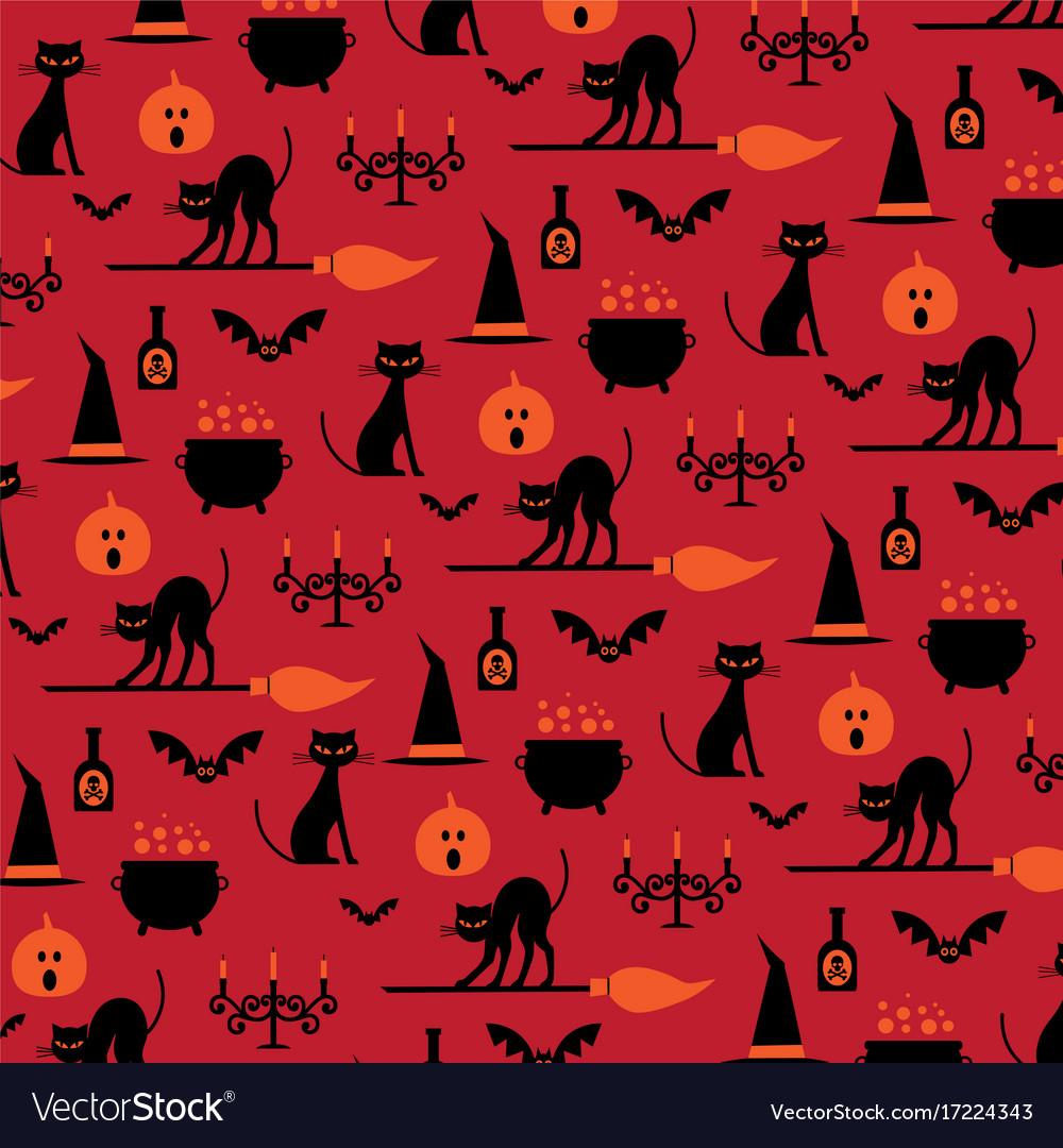 Halloween icons pattern on orange