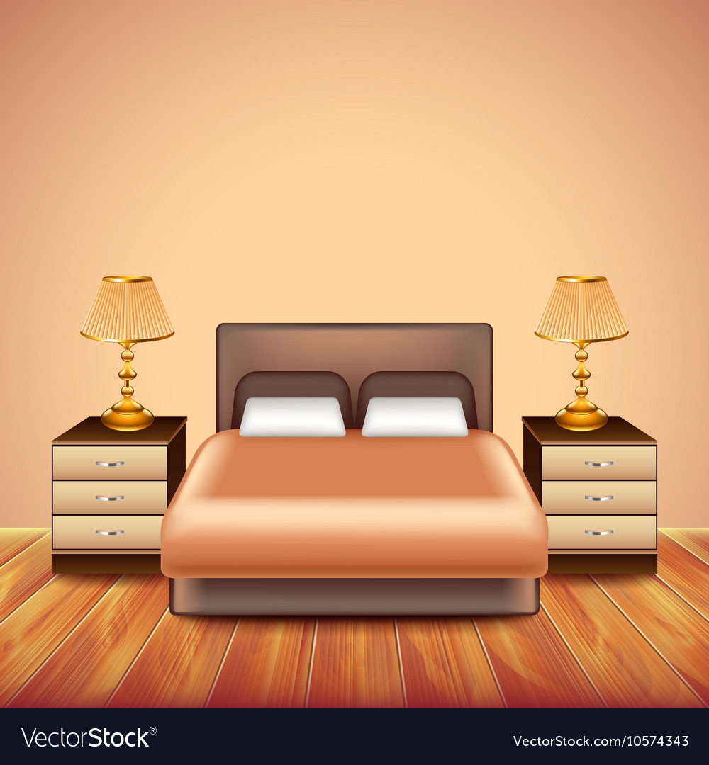 Modern bedroom interior with large bed vector image