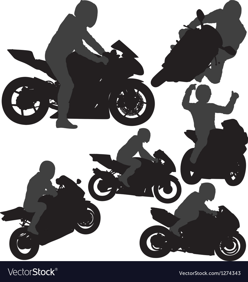 Motorcycle Rider Silhouettes Royalty Free Vector Image