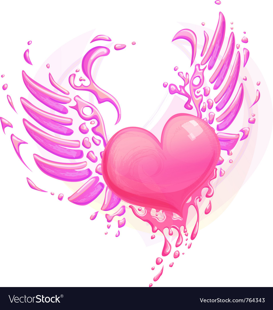 Pink heart with wings vector image