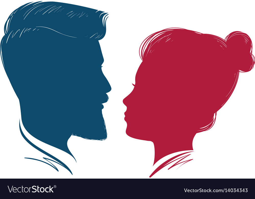 Portrait of man and woman head profile