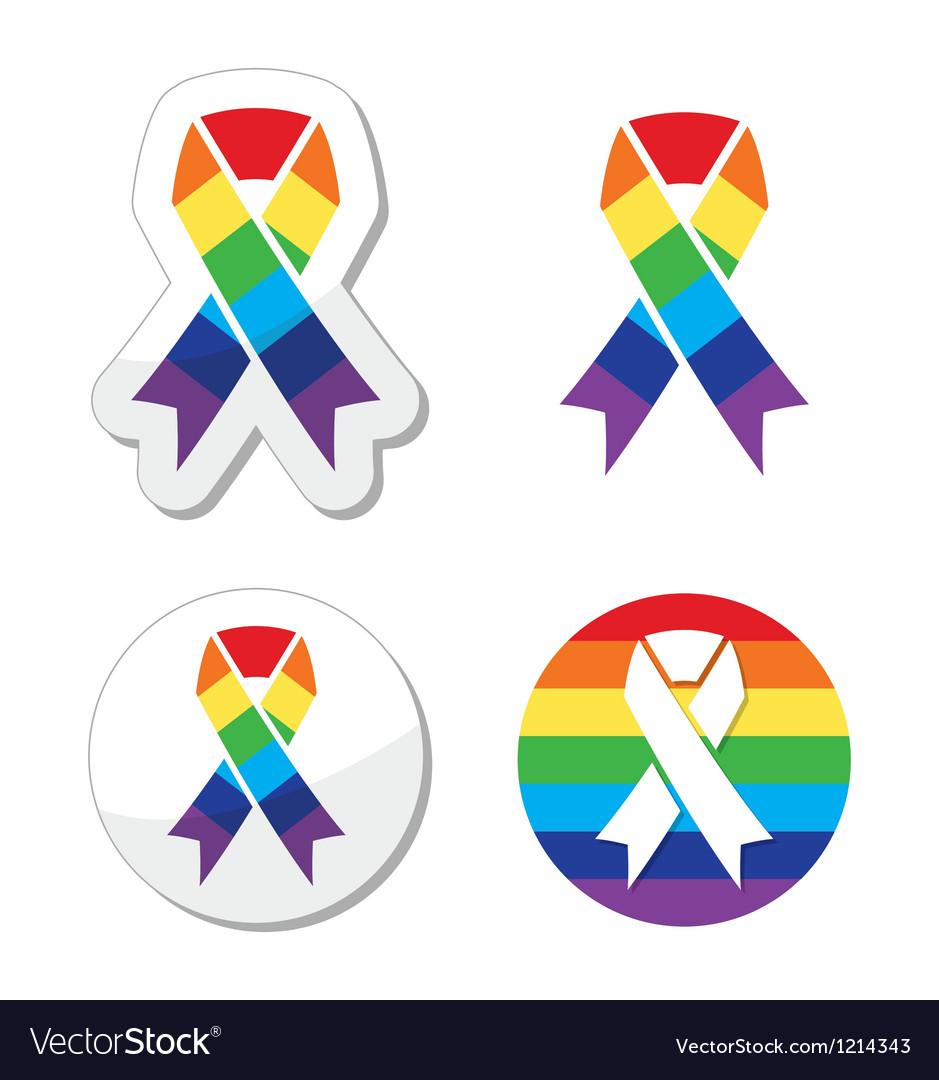 Rainbow flag ribbon - symbol of gay pride