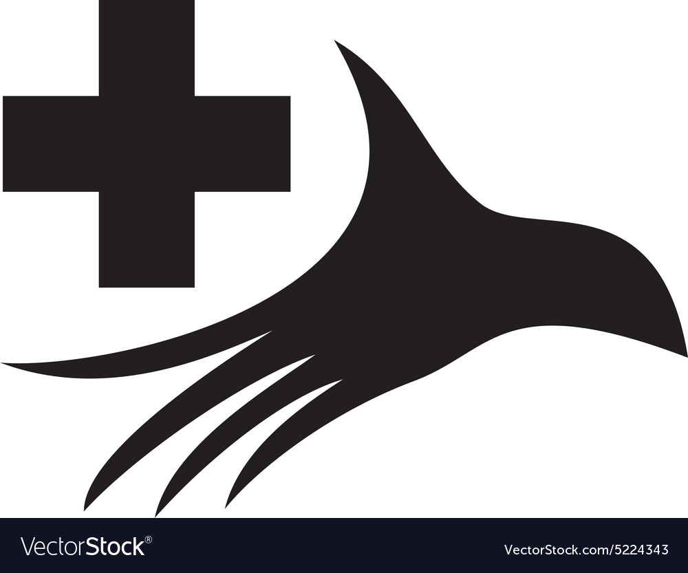 Stylized silhouette of a palm with medical cross vector image