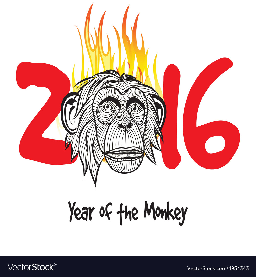 The year of fire monkey Chinese symbol calendar in