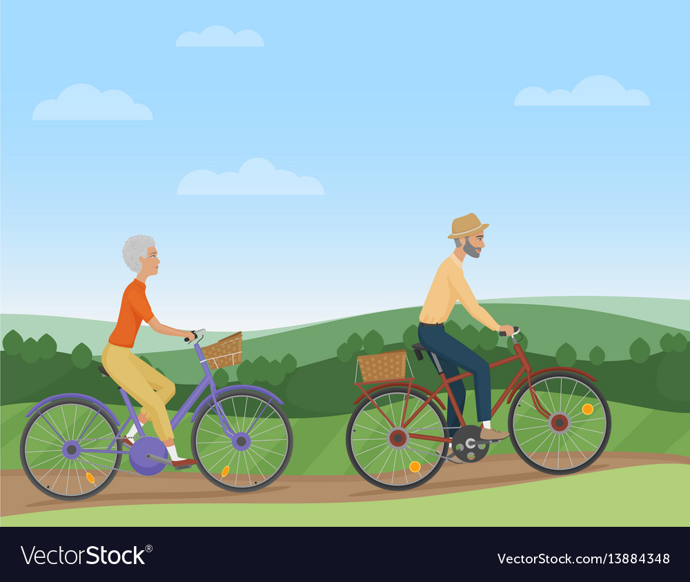 A senior couple riding the bikes in the
