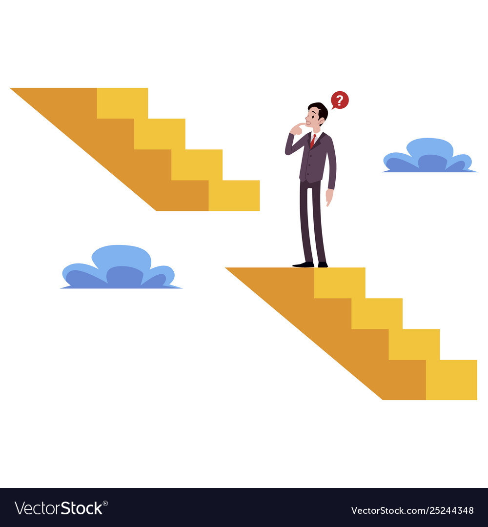 Businessman stands on broken stairs thinking how