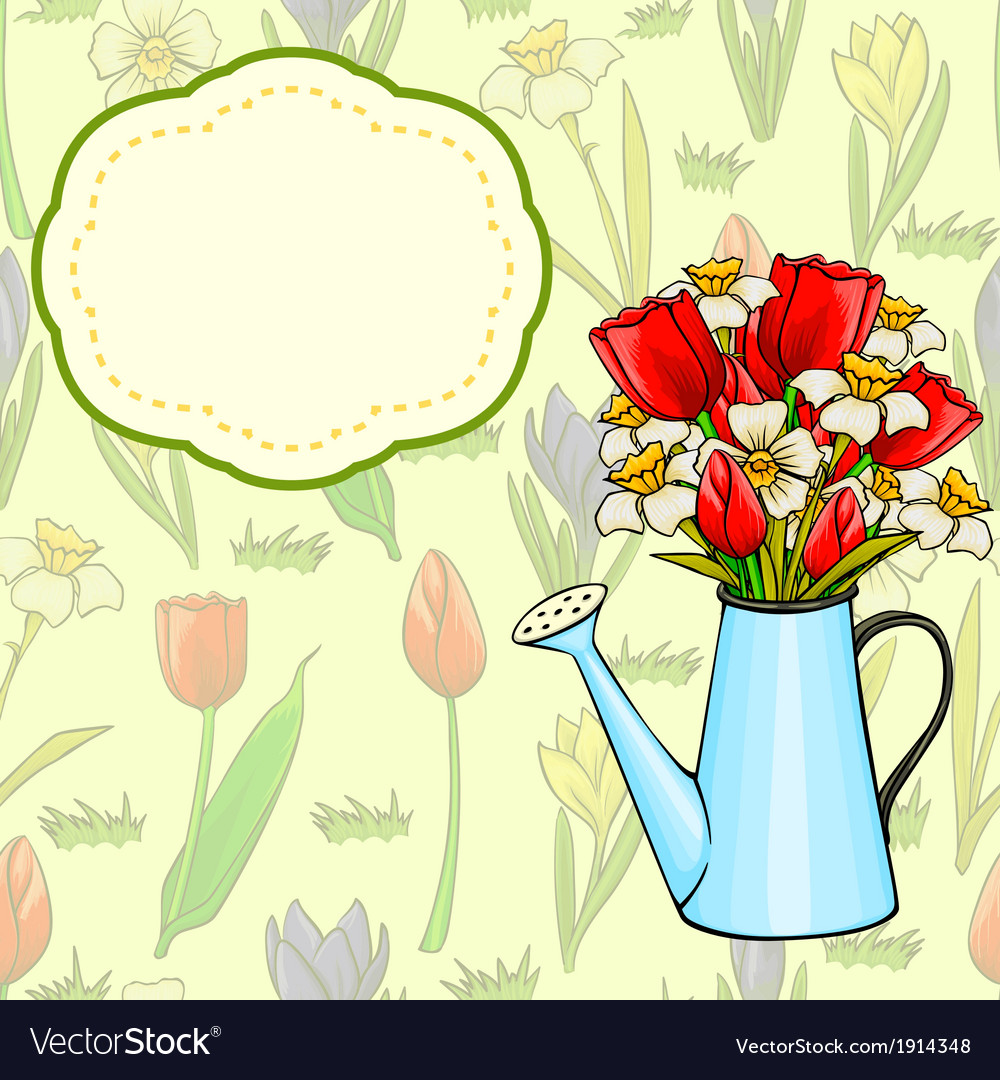 Cartoon Watering Can With Bunch Of Spring Flowers Vector Image