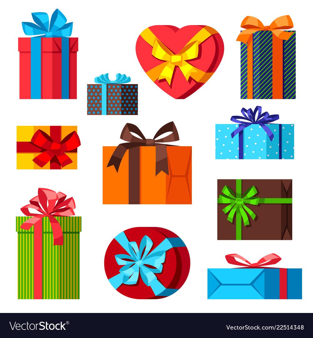 Celebration icon set of gift boxes