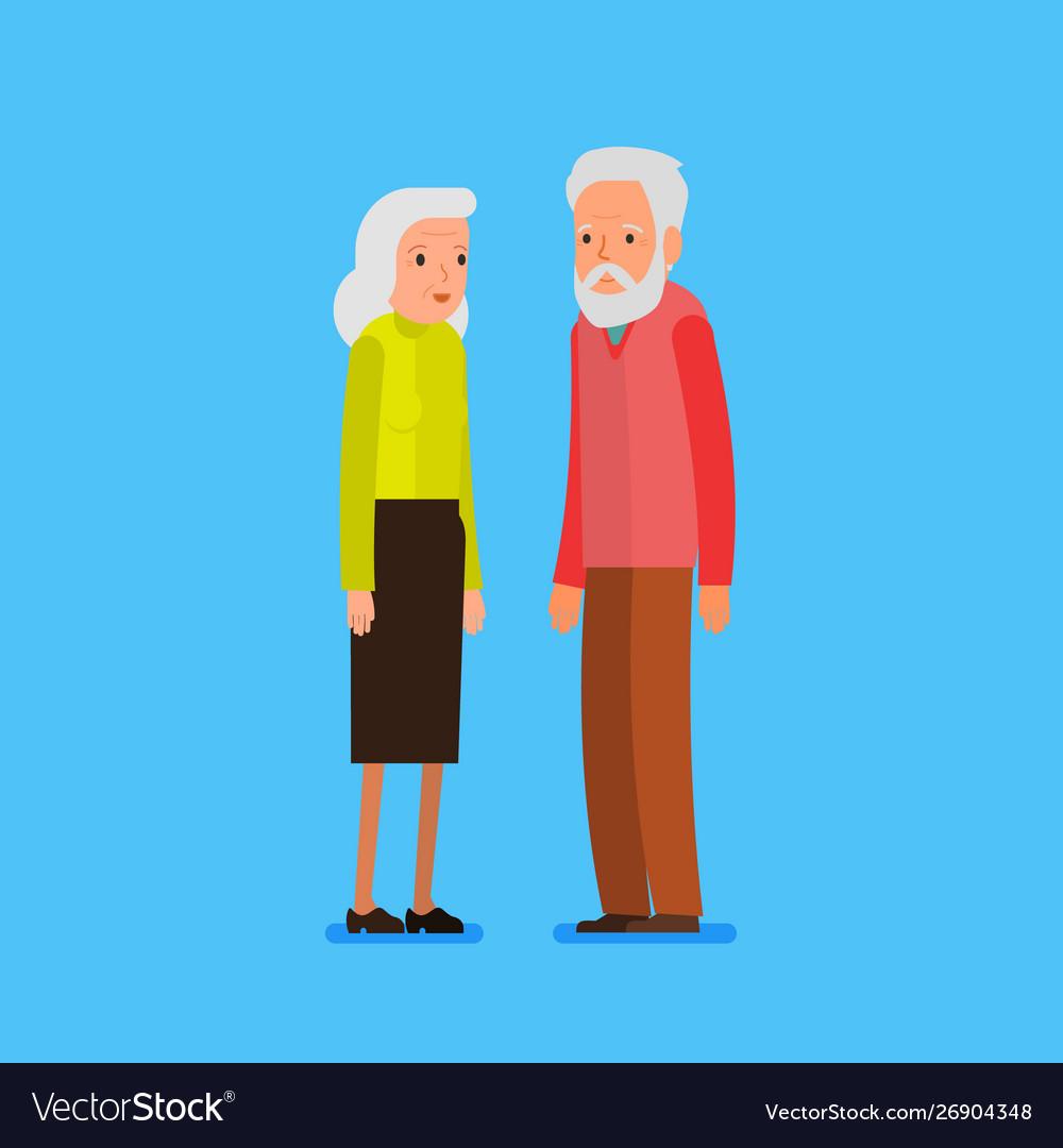 Elderly couple in flat style