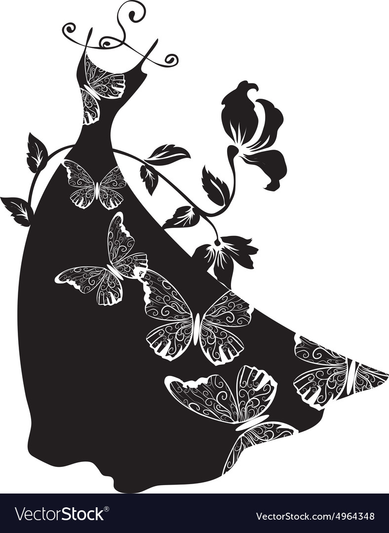 Elegant silhouette Beautiful woman with flowers vector image