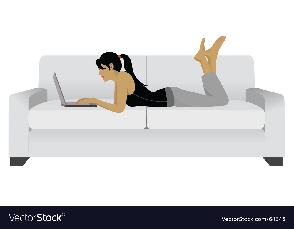 Girl Laptop Sofa Royalty Free Vector Image Vectorstock