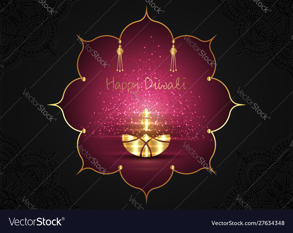 Happy diwali festival lights and oil gold lamp