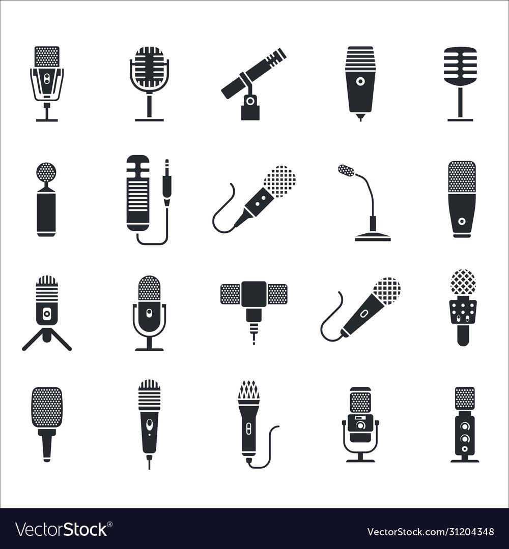 Radio and music microphone icon set
