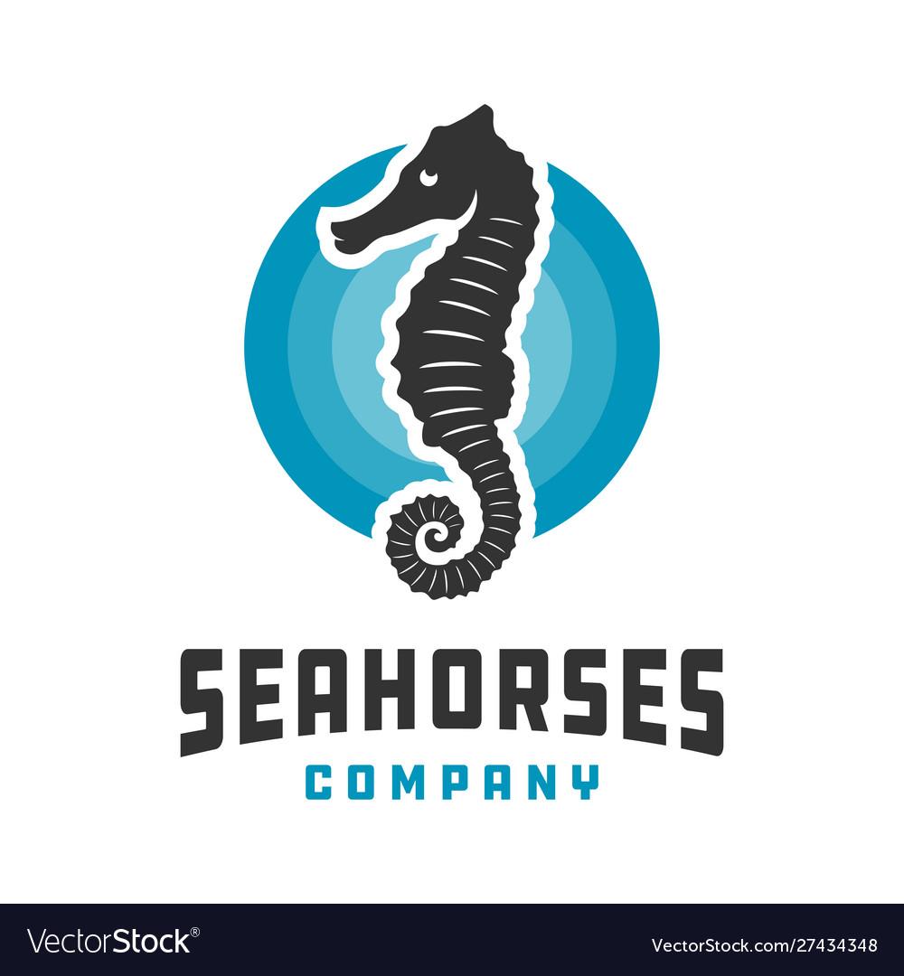 Seahorse and circle logo design