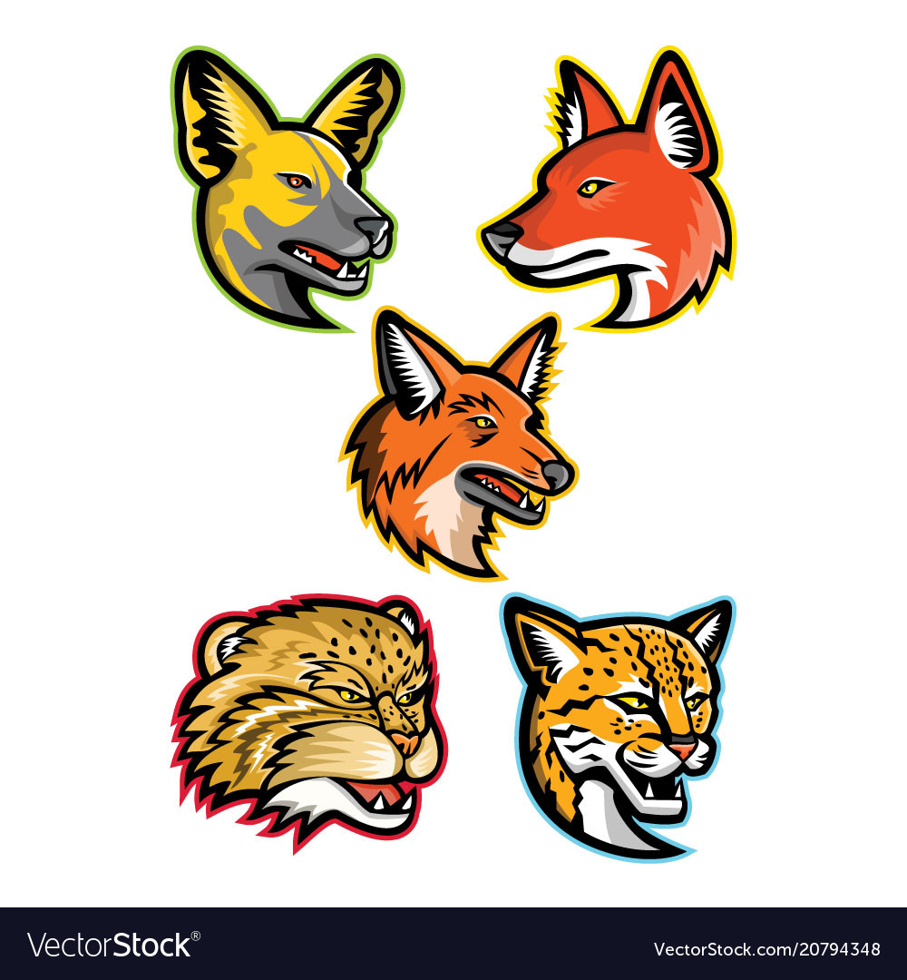 Wild dogs and wild cats mascot collection