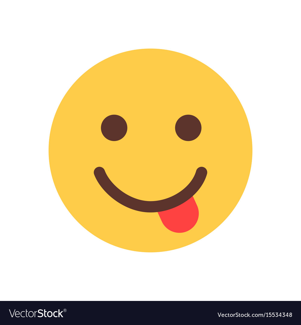 Yellow smiling cartoon face show tongue emoji
