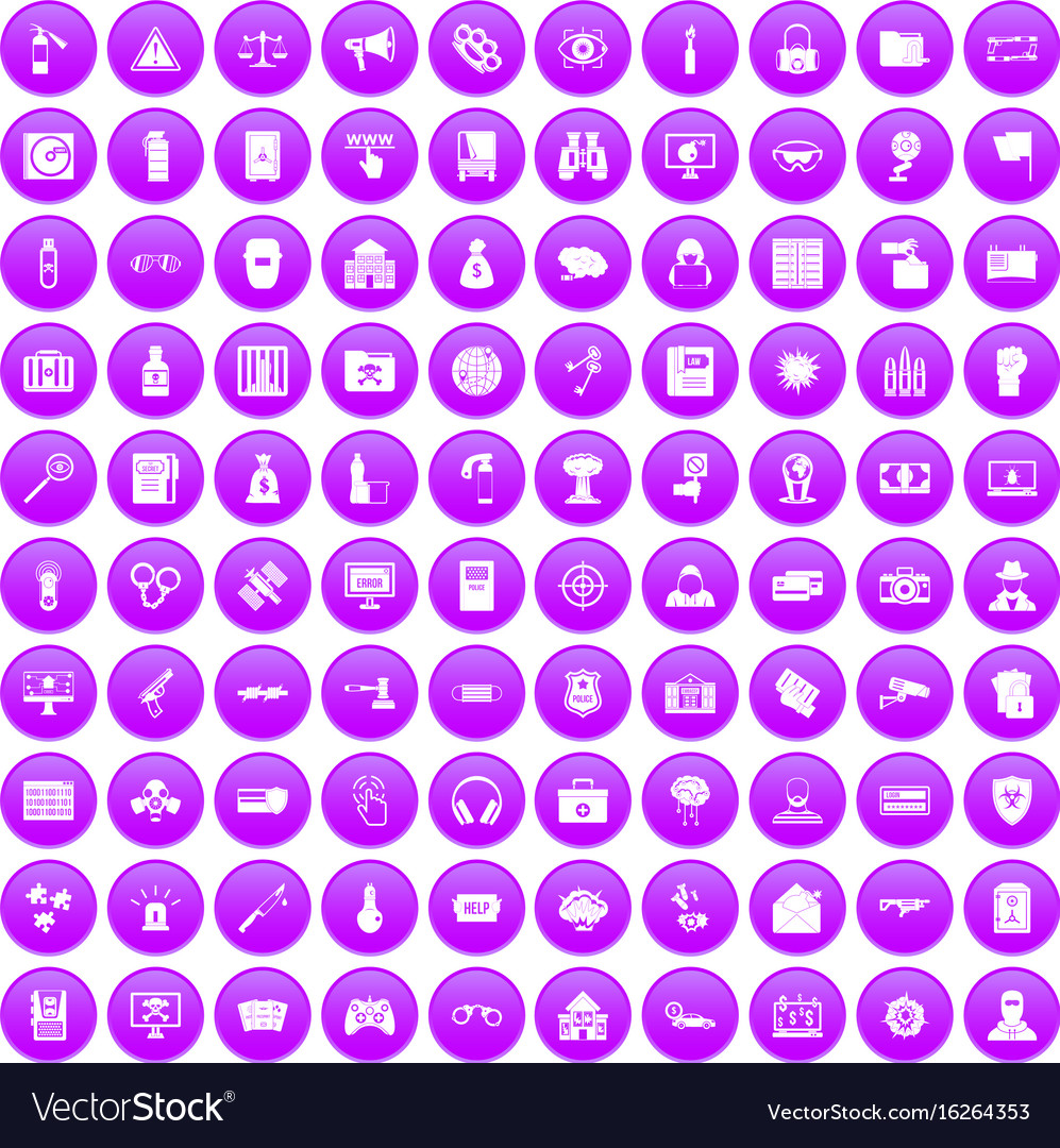 100 hacking icons set purple vector image