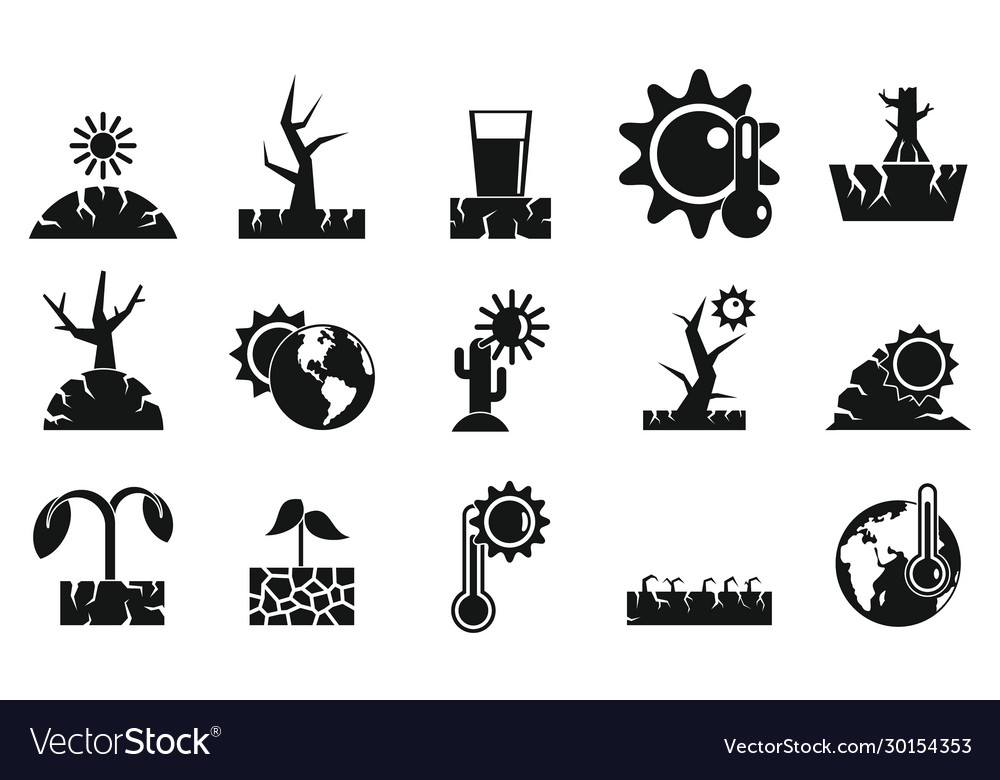 Drought icons set simple style