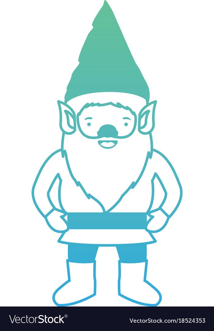 Gnome with costume in degraded green to blue color