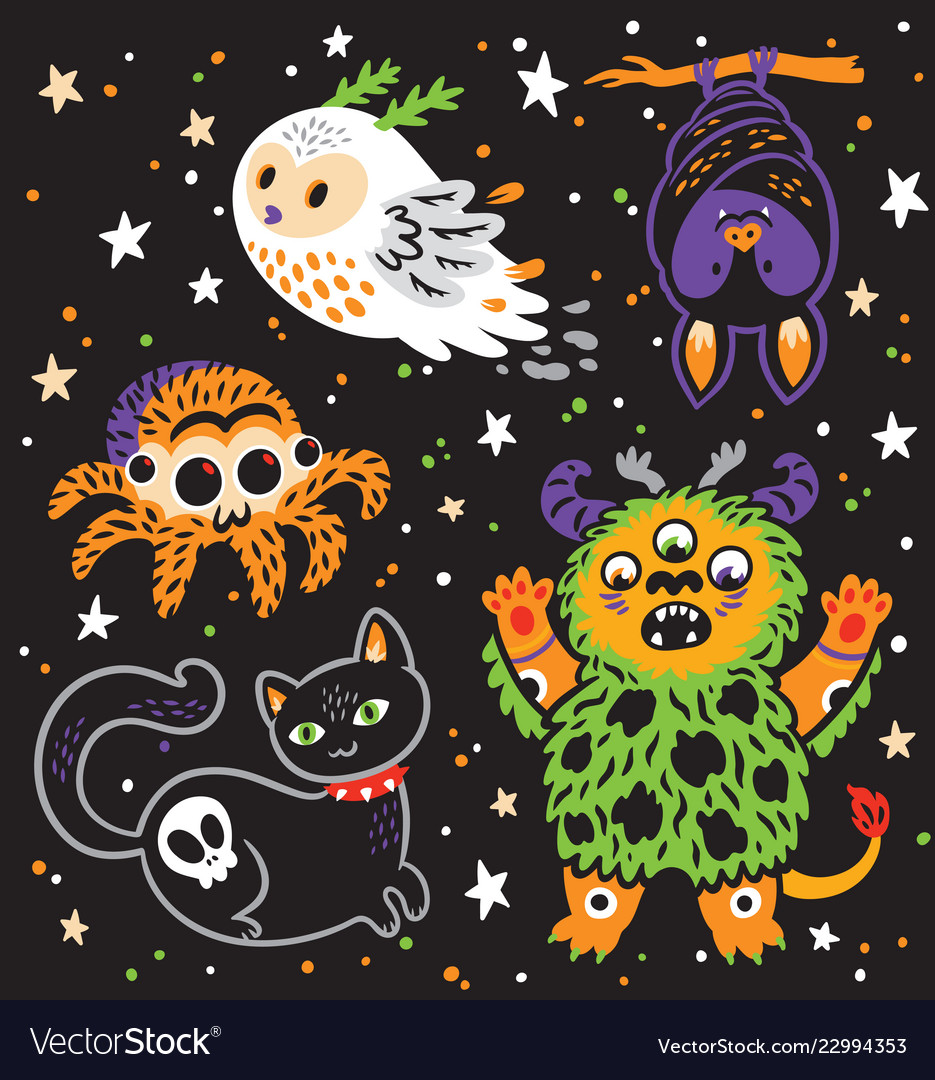 Halloween holiday collection of cartoon animals
