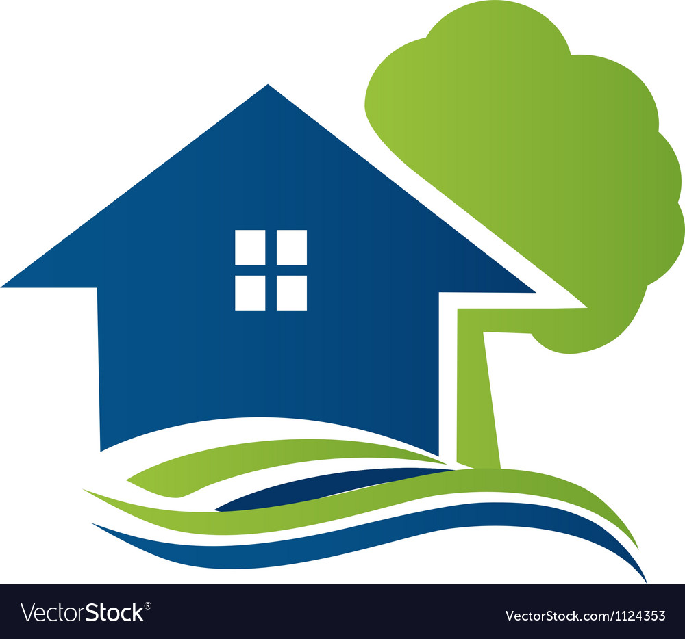 House with tree and waves logo vector image