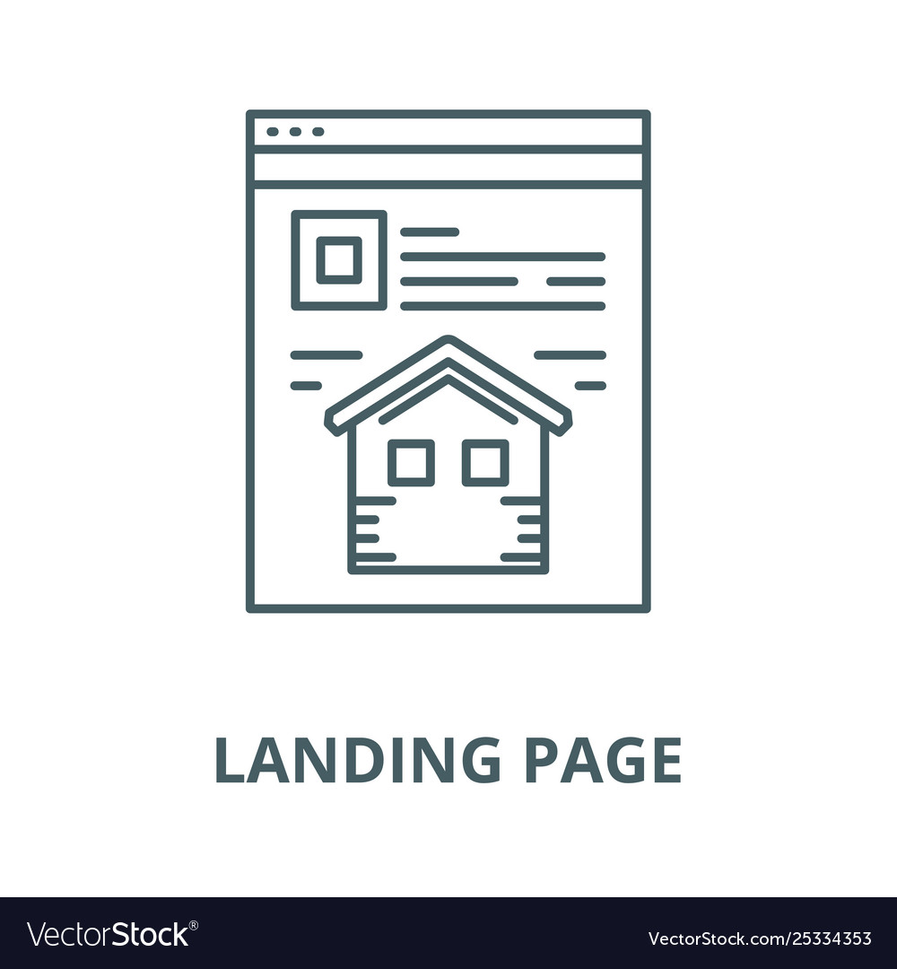 Landing page line icon linear concept